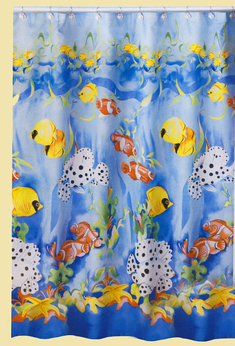 Shower curtain tropical fish theme blue yellow orange bath for Tropical fish shower curtain
