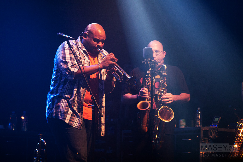 Rashawn Ross and Jeff Coffin form a stunning horns combination.