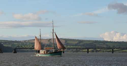 16th September 2016. Brian Boru, gaff rigged ketch, on the River Suir at Cheekpoint, Waterford, Ireland.