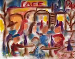 Dibujo a pastel de un café de París