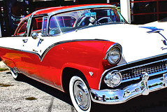 automobile, automotive exterior, 1955 ford, vehicle, antique car, sedan, land vehicle, motor vehicle,