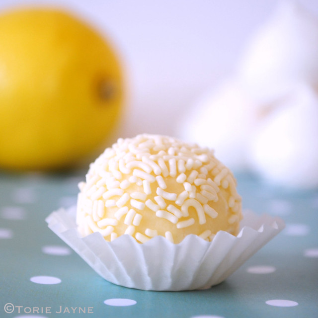 Hand-made white chocolate lemon meringue truffle