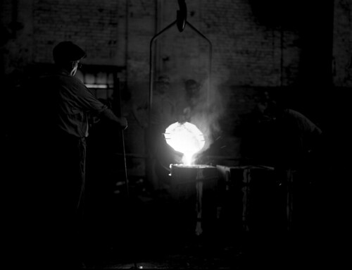 Pouring moulton steel from Midvale Company Ajax furnace, 1946