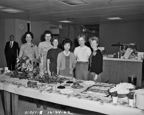 Women at office holiday party, 1962