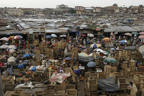 Overlooking the central Kumasi market
