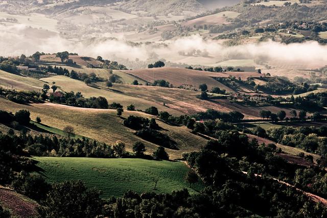 Landscape: Rural architecture, colors and fog.