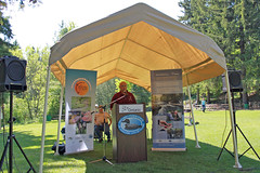 Mike Reader, OFAH (Ontario Federation of Anglers and Hunters), speaking at the 2 Millionth Fish Release at Belfountain CA