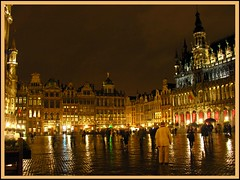 The Grand Place lit up at night