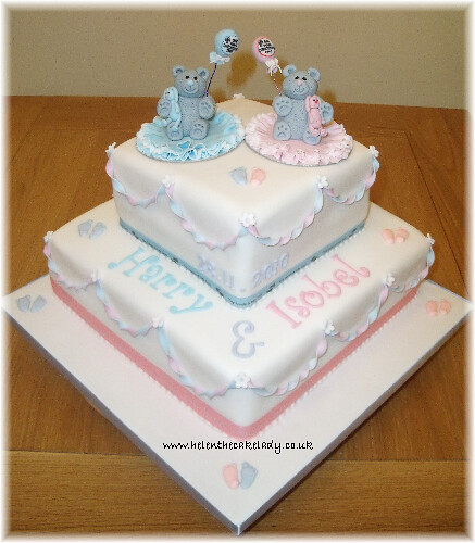 Christening Cake Designs For Twins : Twins Christening cake Tatty Bear Flickr - Photo Sharing!