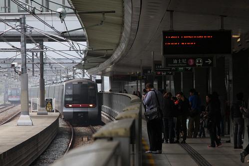 Hong Kong bound K-stock train arrives into Sunny Bay station