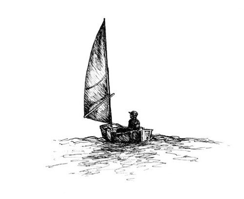 Self Portrait - Sailing AnnaJane, my Phil Bolger Elegant Punt