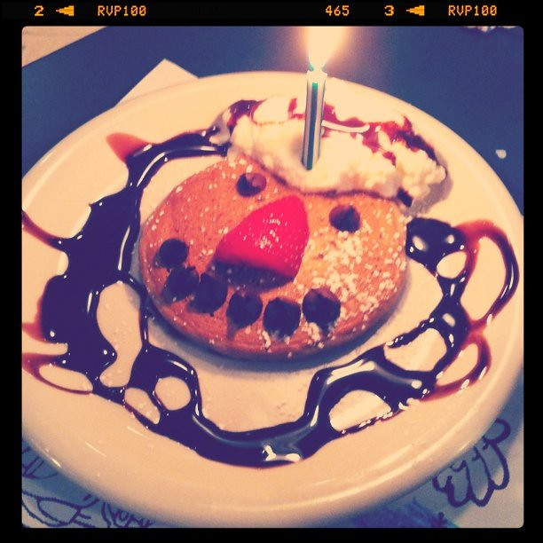 our friends at the pancake made this sweet birthday buddy for Teddy tonight -love them-