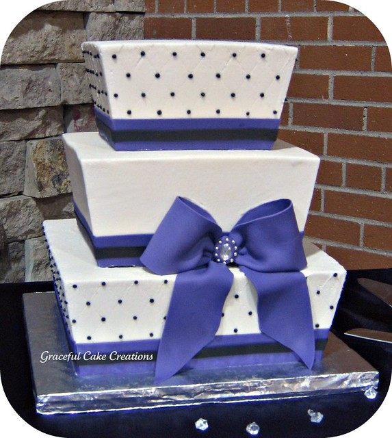 Purple Black and White Square Wedding Cake