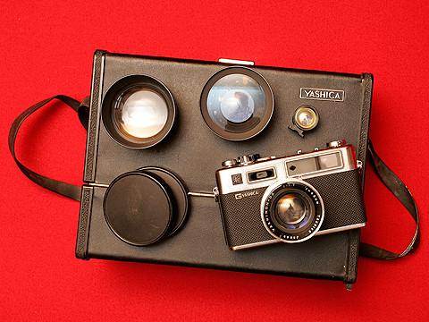 Yashica Electro 35 G kit (carrying case + conversion lenses etc)