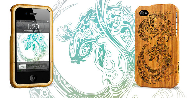 """Wave"" bamboo iphone case by Lotie"