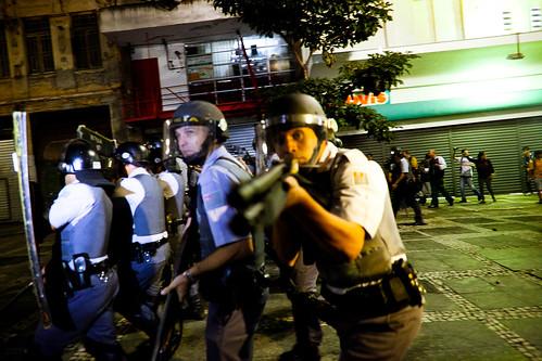 Brazilian police in riot gear in the streets