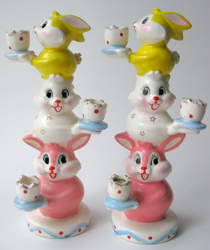 Holt Howard Totem Pole Rabbits Candleholder by pixie♥pie