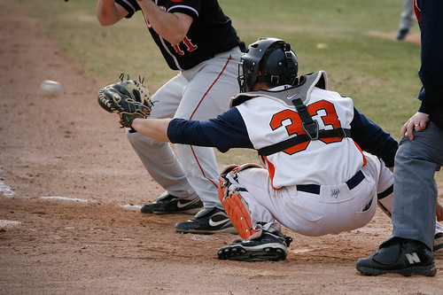 Aaron Lystang behind plate (horizontal April 3, 2011)