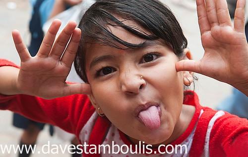 Nepali girl being silly in Kathmandu, Nepal
