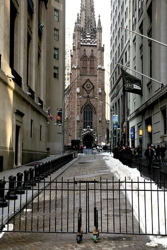 New York City, Lower Manhattan, Financial District, Wall St. / Trinity Church, 1846.