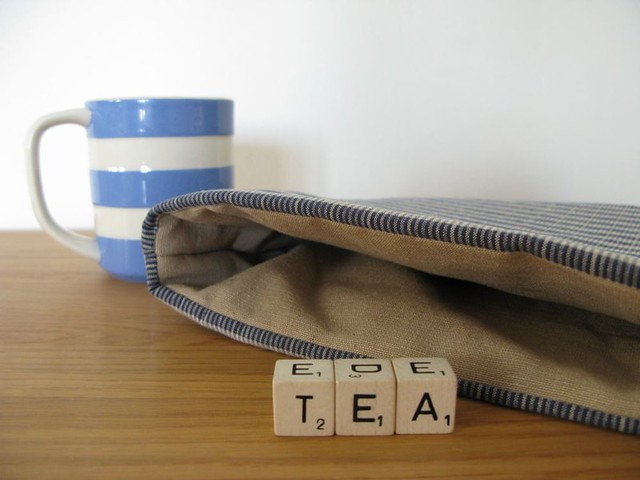 Tea cosy rustic striped blue & white, teapot cozy homespun country fabric