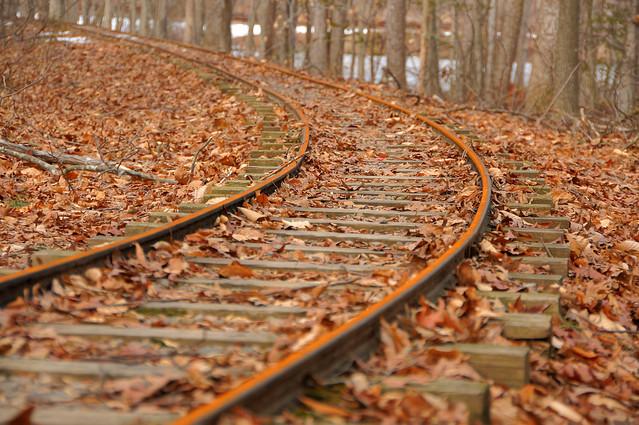 Winter rust at Burke Lake Park miniature train tracks