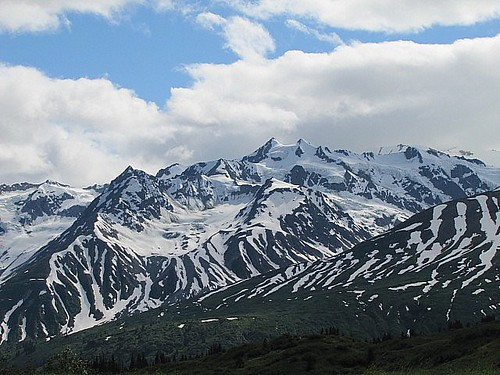 summer sky snow mountains alaska clouds glacier haineshighway takhinshamountains