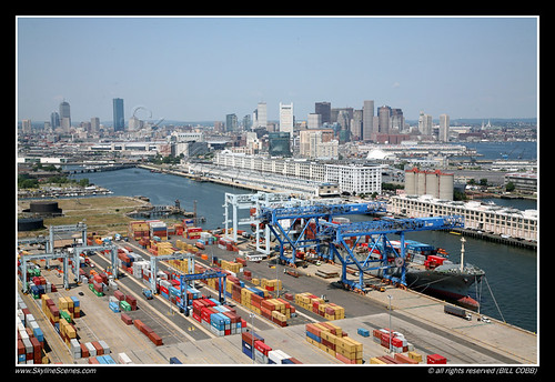 Port of Boston and Boston Skyline