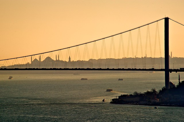 Sultanahmet behind the Bosphorus Bridge