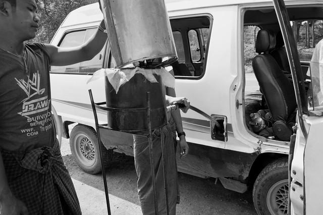 refueling oil @ pyin oo lwin, myanmar, 2010