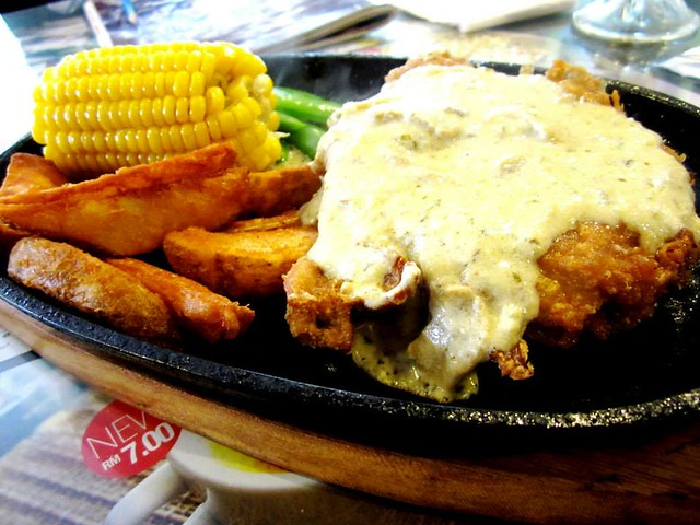 Noodle House chicken chop mushroom sauce
