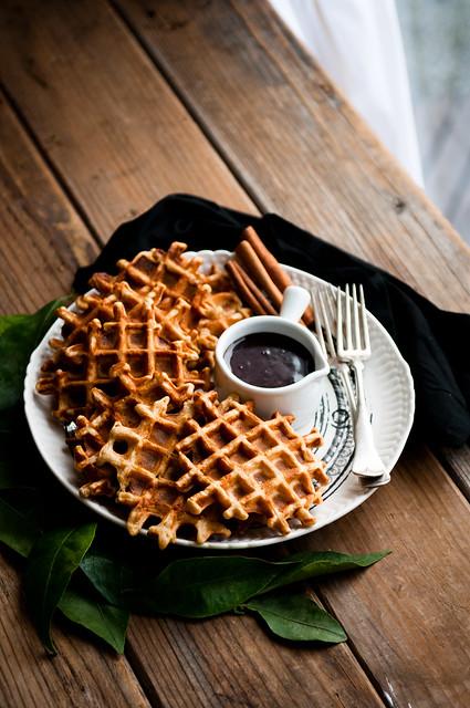 Orange Cinnamon Waffles with Hot Fudge | Flickr - Photo Sharing!