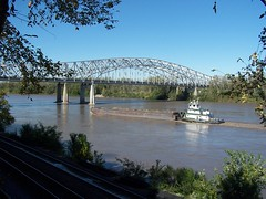 Tugboat and Barge on the Missouri River