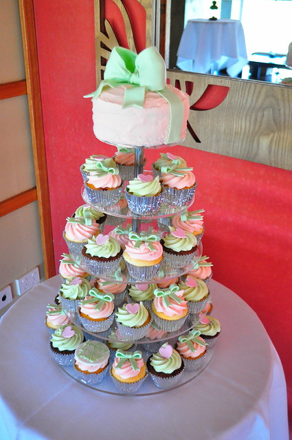 Pale pink and pale green wedding cupcakes A mix of triple coconut white