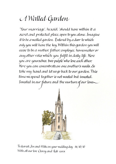 Calligraphy poem A Walled Garden church illustration | Flickr - Photo ...