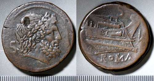 43/2b Luceria L Semis. Roman mint. S / Saturn; S / Prow, star, bulbous stem / L / ROMA. Paris d'Ailly 3242, 41g91