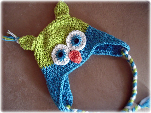 Crochet Tassel Hat Pattern For Baby : Owl hat crochet baby ear flap braided tassel ties photo ...
