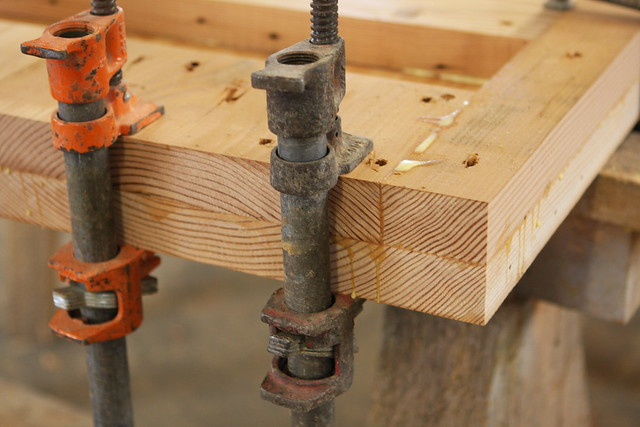 "Clamping solid wood together to make a 3"" dining table top 