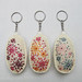 Hand Embroidered Flower Bed Felt Keychains