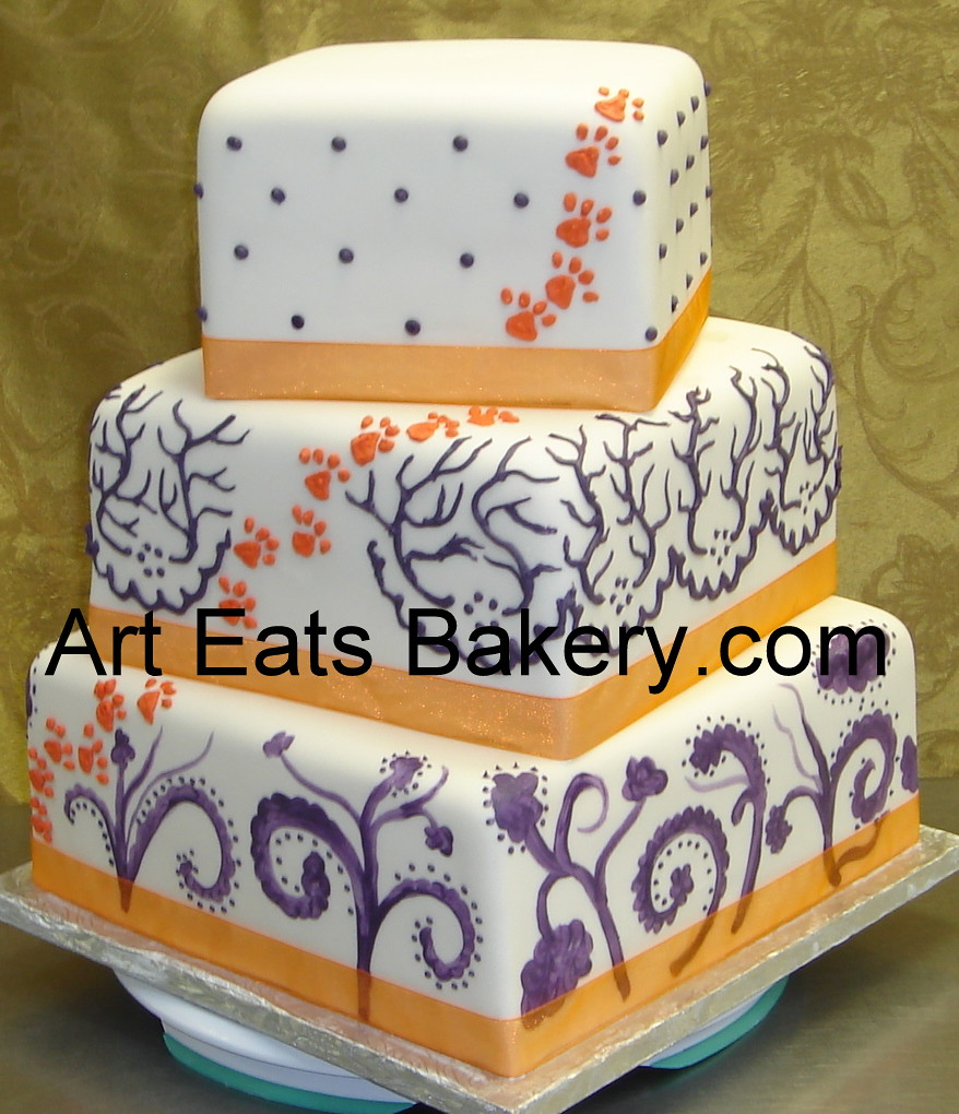 Super Three Tier Square Custom Fondant Wedding Cake With Orange Flickr Funny Birthday Cards Online Eattedamsfinfo