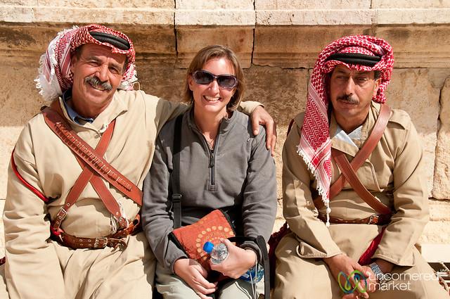 Audrey With the Musicians of Jerash, Jordan
