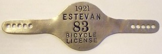 ESTEVAN, SASKATCHEWAN 1921 ---BICYCLE LICENSE