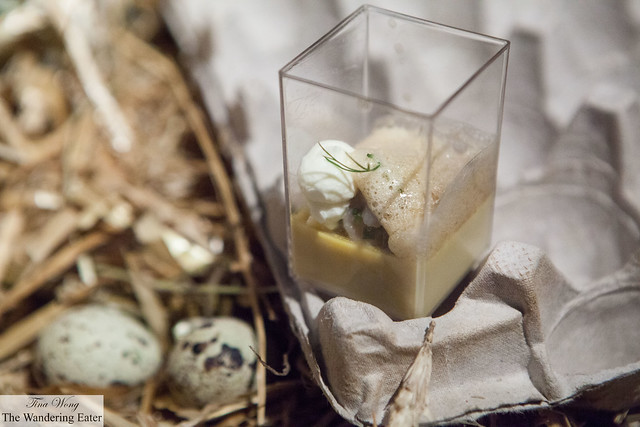 Smoked herring egg custard with pickles, trout roe, warm butter by Aquavit