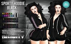 !NFINITY Sporty Hoodie - BLACK