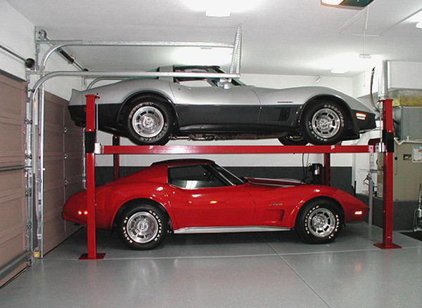 two vettes on Backyard Buddy lift | Flickr - Photo Sharing!