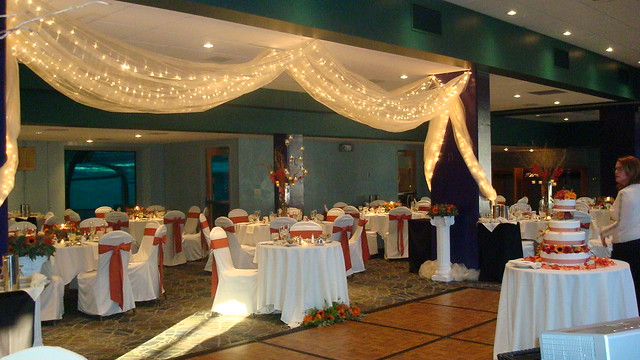 The Dolphin Gallery set for a Fall wedding reception