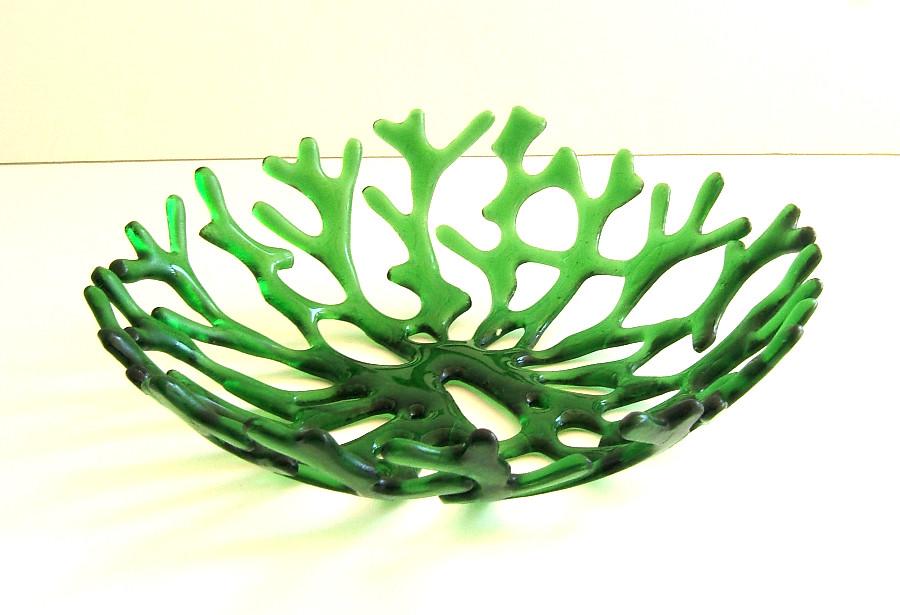 Green Sea Coral Art Glass Bowl Centerpiece