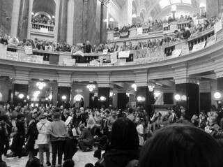 Protesters Gather in the Wisconsin Capitol Rotunda