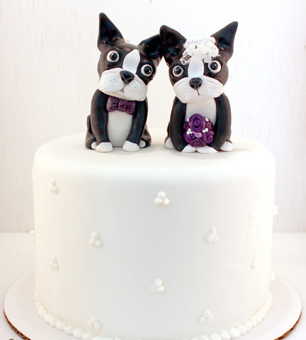 Boston Terrier Wedding Cake Topper
