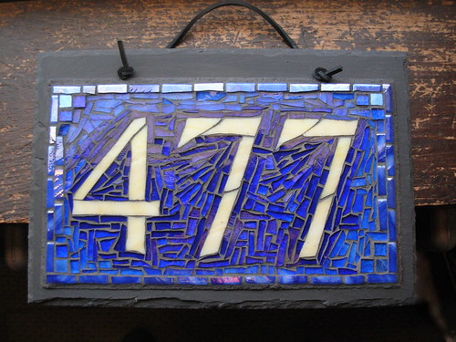 Custom house number plaques mosaic on slate with style by for House number designs